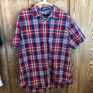 Red, White and Blue plaid button down shirt